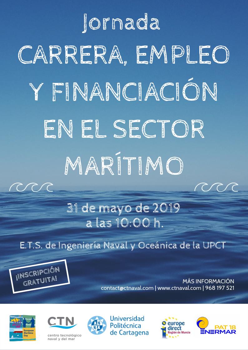Cartel Jornada carrera, empleo y financiación en el sector marítimo